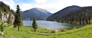 Panorama of Kolsay Lake Stock Photos