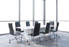 Panorama- konferensrum i modernt kontor, kopieringsutrymmesikt från fönstren Svartstolar och en vit tabell vektor illustrationer