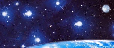Panorama- kosmos vektor illustrationer
