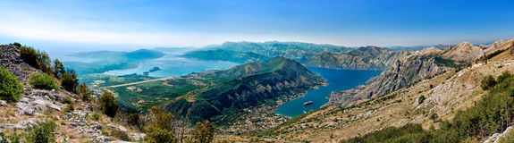 Panorama of the Kotor bay. Blue sky Royalty Free Stock Images