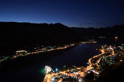 Panorama of Kotor Bay with Mountain Scenery and Cruise Ship. Seen from Lookout at Night, Montenegro Royalty Free Stock Photography