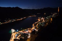 Panorama of Kotor Bay with Mountain Scenery and Cruise Ship. Seen from Lookout at Night, Montenegro Stock Images