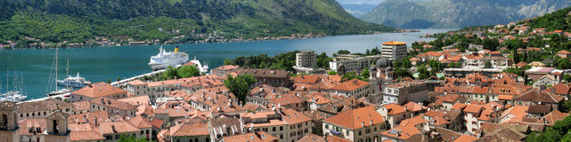 Panorama of kotor bay and town Stock Photo