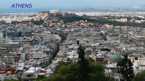 Panorama krajobrazowy widok miasto Ateny zdjęcie stock