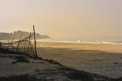 Panorama krajobrazowy widok morze plaża w zmierzchu MUMBAI, MAHARASTRA, INDIA zdjęcie royalty free