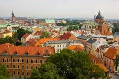 Panorama of the Krakow city stock photos