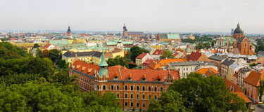 Panorama of the Krakow city Royalty Free Stock Photos