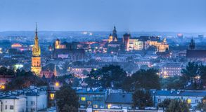 Panorama of Krakow, Poland. royalty free stock photo
