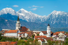 Panorama of Kranj, Slovenia, Europe. Kranj in Slovenia with St. Cantianus Church in the foreground and the Kamnik Alps behind Stock Image