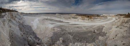 Panorama kredowy łupu kopalnictwo Obrazy Royalty Free