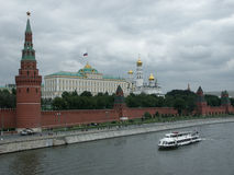 Panorama of the Kremlin with the Big Kremlin palace. Royalty Free Stock Photo