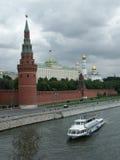 Panorama of the Kremlin with the Big Kremlin palace. Panorama of the Moscow Kremlin with the Big Kremlin palace. A kind from quay of the Moskva River Stock Photos