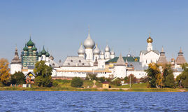 Panorama Kremlin of Rostov the Great, view from the lake Nero Royalty Free Stock Images