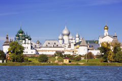 Panorama Kremlin of Rostov the Great, view from the lake Nero Stock Photos