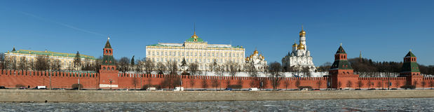 Panorama of the Kremlin wall Stock Photography