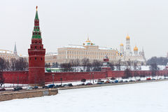 Panorama of Kremlin wall and tower in winter Stock Photography