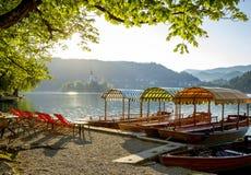 Panorama Krwawiący jezioro, Slovenia Zdjęcie Stock