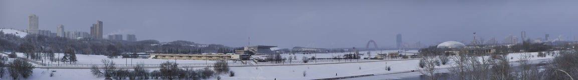 Panorama on Krylatskie hills from Krylatskoe bridg Stock Images
