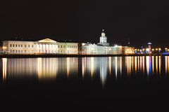 Panorama Kunstkamera i Neva, święty Petersburg Obrazy Stock