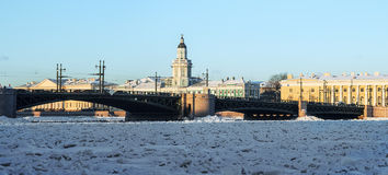 Panorama kunstkamery and palace bridge early winter morning Stock Photography