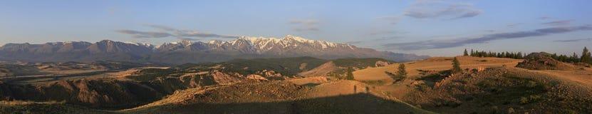 Panorama Kurai steppe and North Chuya ridge at Royalty Free Stock Image