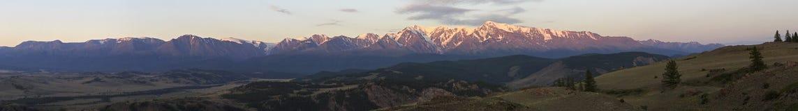 Panorama Kurai steppe and North Chuya ridge at Stock Photos