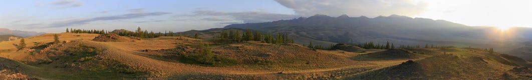 Panorama of Kuray mountain range at dawn Royalty Free Stock Image