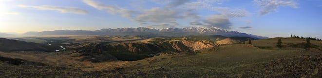Panorama of Kuray mountain range at dawn Stock Images