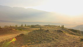 Panorama of Kuray mountain range at dawn stock footage