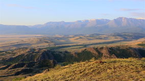 Panorama of Kuray steppe and North Chuya ridge at stock footage