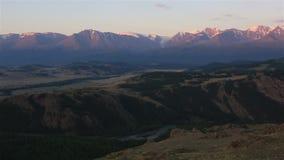 Panorama of Kuray steppe and North Chuya ridge at stock video footage