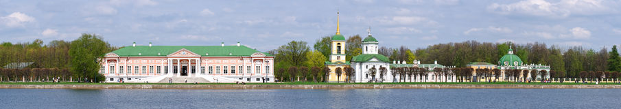 Panorama Kuskovo. The summer country house and estate of the Sheremetev family. Built in the mid-18th century, Moscow stock images