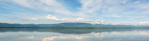 Panorama of Kwan Phayao(Phayao lake)locate at  Phayao province, Royalty Free Stock Photos