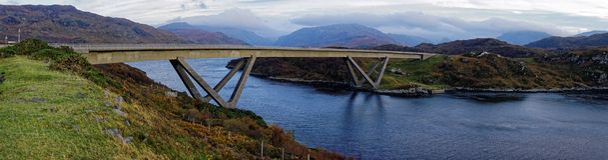 Panorama of Kylesku Bridge Stock Images