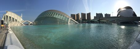 Panorama from the L'Hemisfèric building. Panorama from the L'Hemisfèric building at the City of Arts and Sciences in Valencia Spain Royalty Free Stock Photography