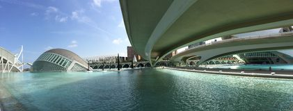 Panorama from the L'Hemisfèric building. Panorama from the L'Hemisfèric building at the City of Arts and Sciences in Valencia Spain Stock Image