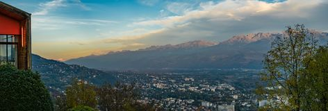 Panorama from La Bastille in Grenoble with Mont-Blanc pic Stock Images