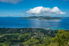 Panorama of La Digue island from Nid d'Aigle, Seychelles Royalty Free Stock Photos