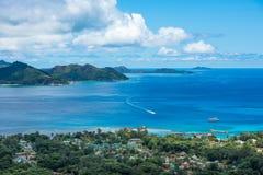 Panorama of La Digue island, Nid d'Aigle viewpoint, Seychelles Stock Photos