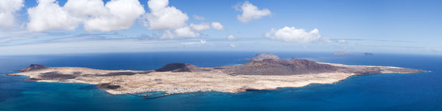 Panorama La Graciosa, Montana Clara, Allegranza Stock Photos