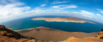 Panorama of La Graciosa  - volcanic island, Canary Stock Photography