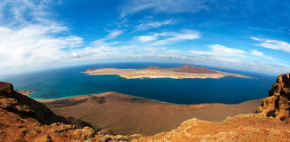 Panorama of La Graciosa  - volcanic island, Canary Royalty Free Stock Photography