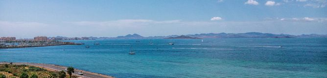 Panorama-La Manga del Mar Menor Murcia, Spanien Sandy Beach Line stockfotos