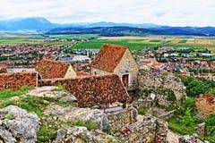 Panorama la Transilvania Romania della cittadella di Rasnov fotografie stock libere da diritti