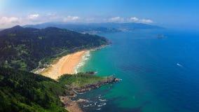 Panorama of Laga beach. In Urdaibai stock photos