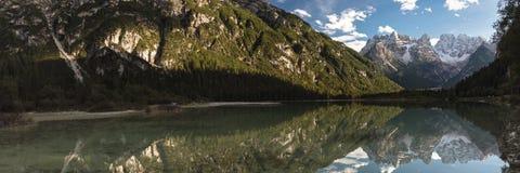 Panorama of Lago di Landro. South Tyrol, Italy Royalty Free Stock Photos