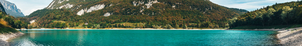 Panorama of Lago di Tenno. Lake with turquoise water in Tenno, Trentino, Italy Stock Photo