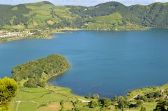 Panorama of Lagoa da fogo from the hill Royalty Free Stock Images