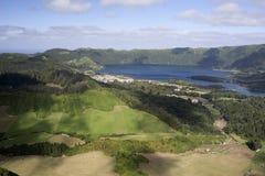 Panorama Lagoa tun Fogo, Azoren Lizenzfreies Stockbild