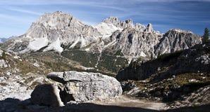 Panorama of Laguazoi and Tofana mountain group in Dolomites Royalty Free Stock Photos